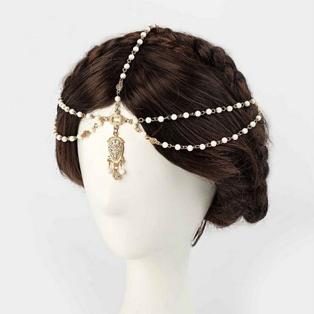 Mujeres BOHO Flapper Marfil perlas múltiples corona Tikka diadema boda cabeza cadena Vintage Decoración