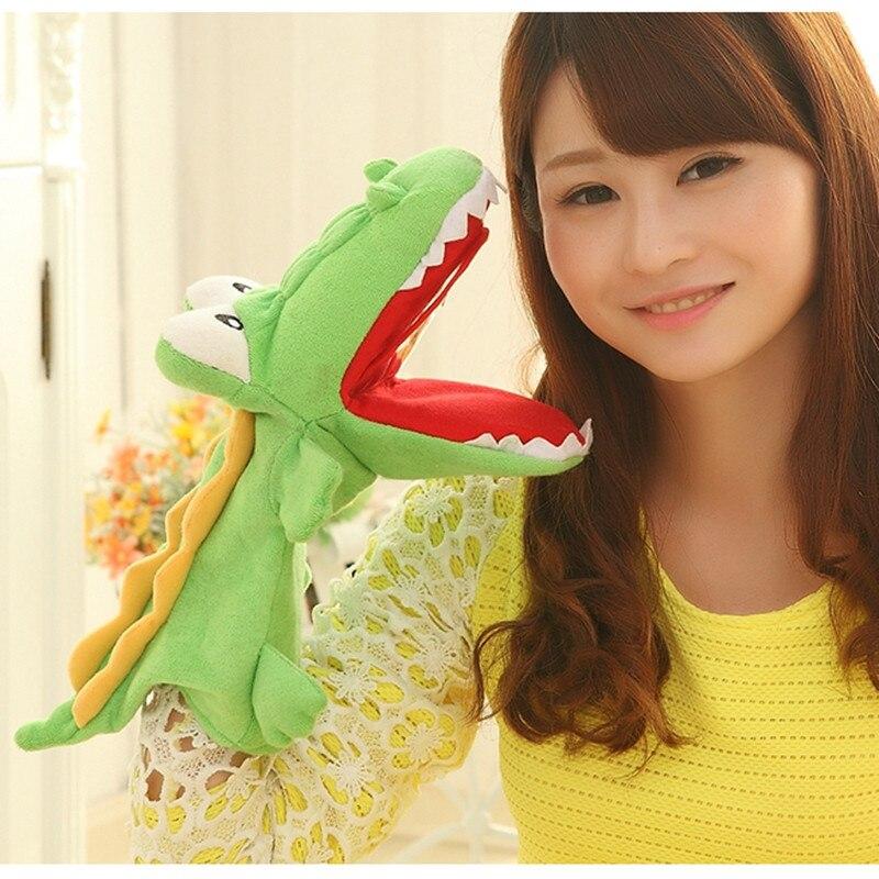 Alta calidad cocodrilo mano marioneta padres-juguetes para niños regalo para chico cocodrilo suave juguete regalo de cumpleaños