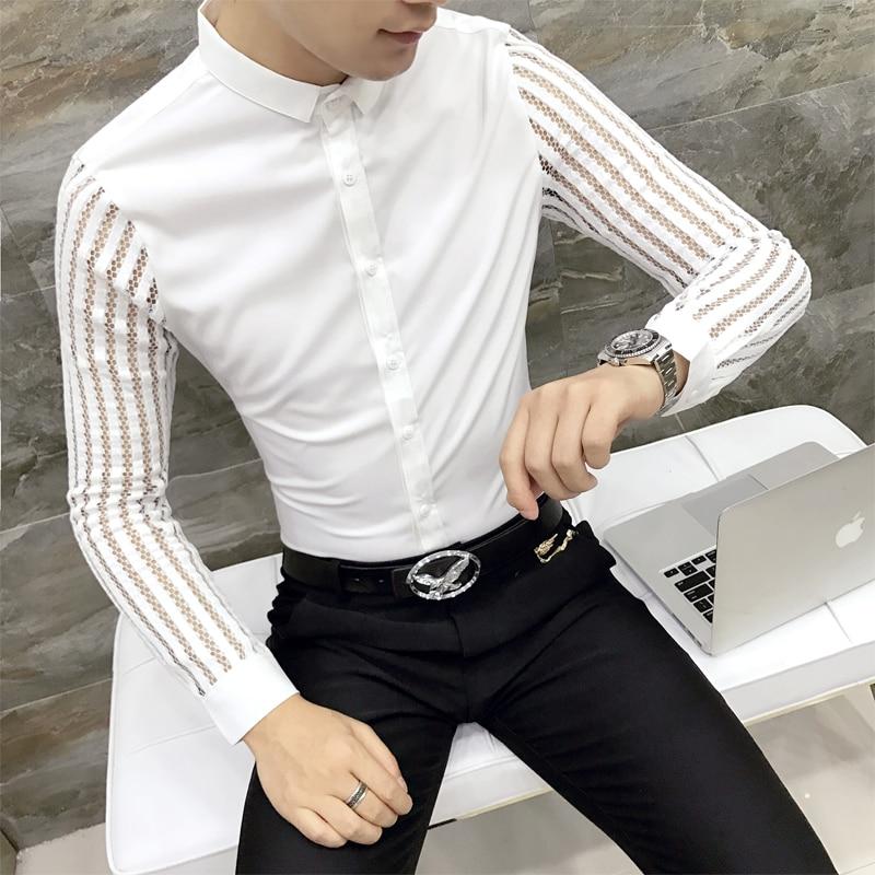 Men Shirt 2019 Spring Hollow Lace Patchwork Long Sleeve Shirt Men Streetwear Mens Shirts Casual Slim Fit Night Club Dress Tuxedo
