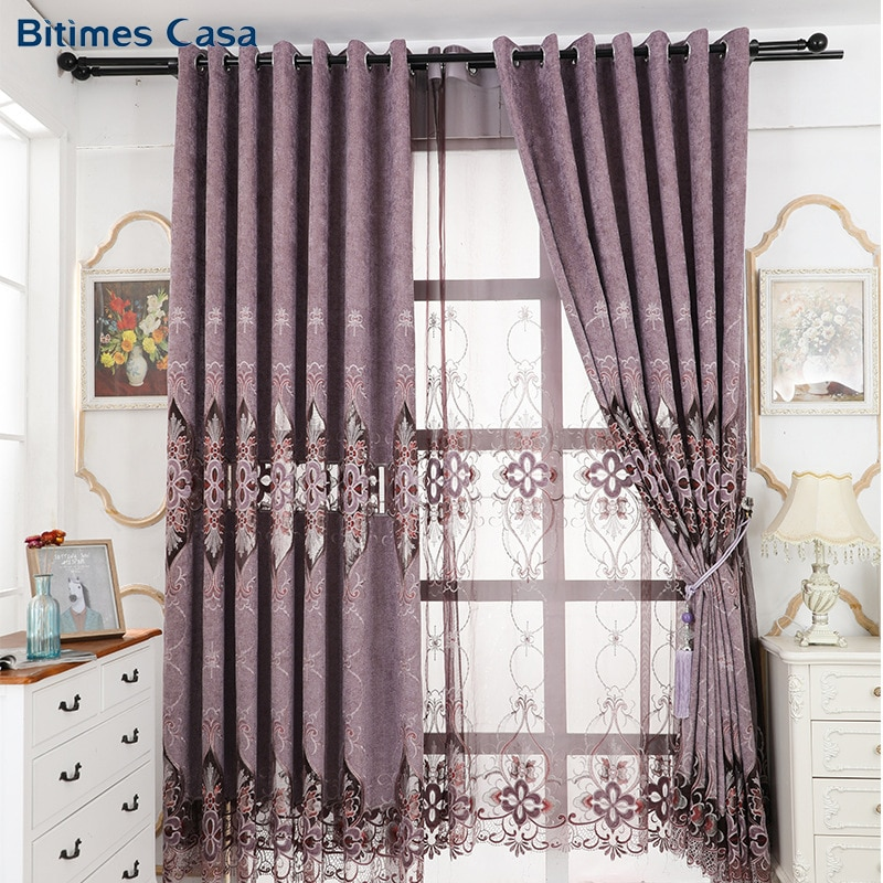 Cortinas de lujo caladas bordadas para ventana, cortinas para Villa, dormitorio, sala de estar, decoración interior de puerta corredera