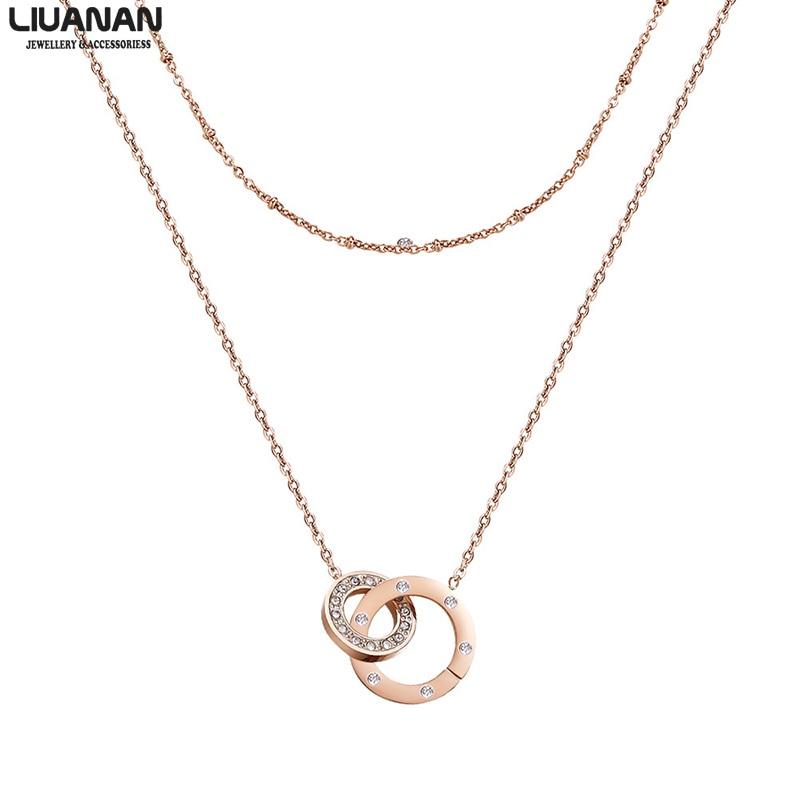 Collar de dos círculos, collar de madre e hija, collar de doble capa, oro rosa, joyería infinita entrelazada para mujeres y niñas