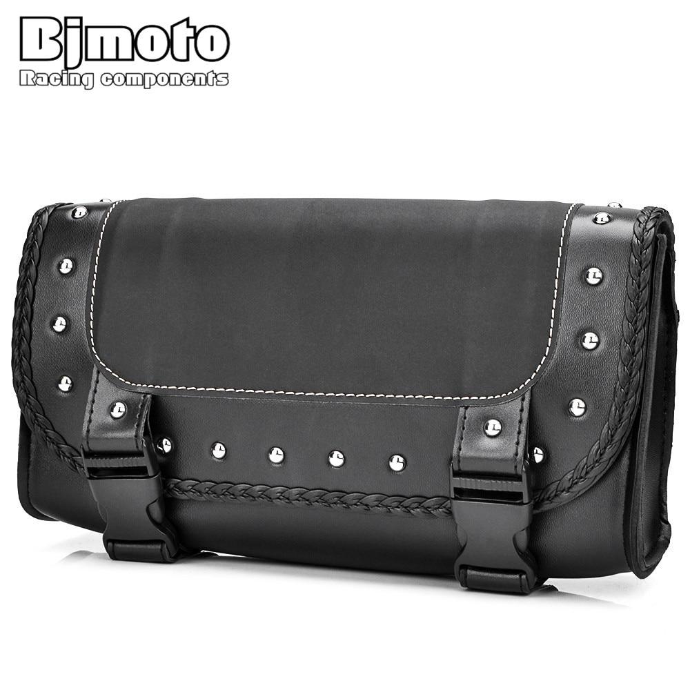 BJMOTO Universal, bolsa de sillín para motocicleta, equipaje de cuero PU, almacenamiento de Alforjas para Motocross, para motocicletas Harley Honda Yamaha