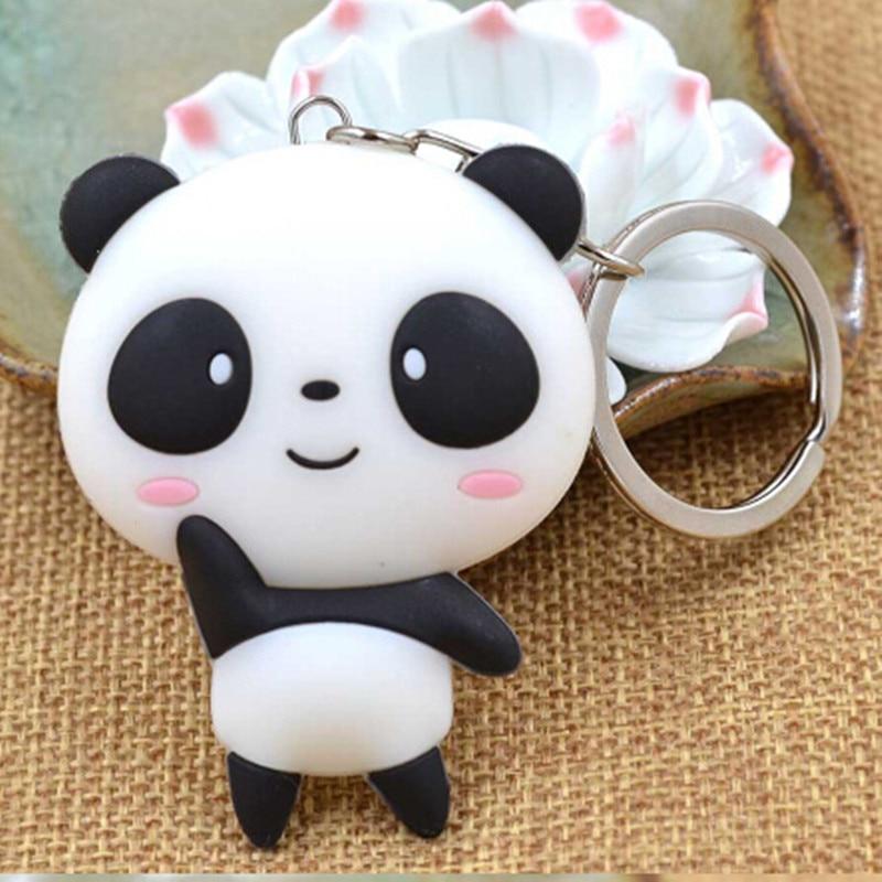 Free shipping Cut Panda shape key chain Birthday Fashion Gift Silicone 3D Cartoon Key Ring Lover Keychain Souvenir