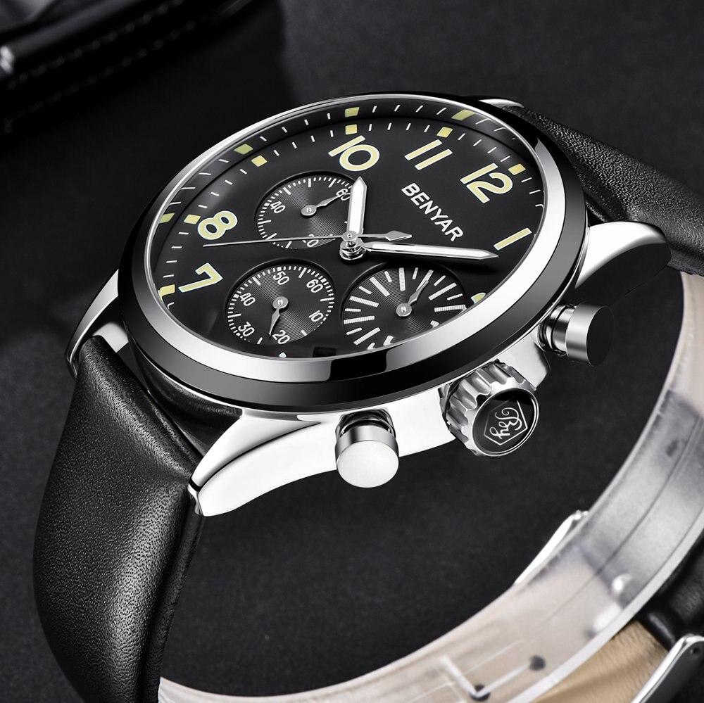 Reloj deportivo de cuarzo Benyar, reloj cronógrafo resistente al agua para hombre, reloj de pulsera de cuero negro, reloj para hombre, reloj hodinky para hombre