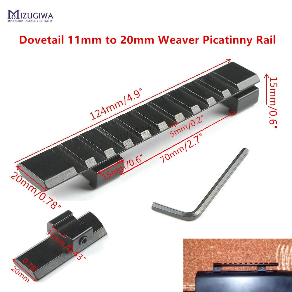 Montaje alcance Milano 11mm a 20mm Weaver adaptador de riel Picatinny ampliar Mount 10 ranuras 124mm riel Picatinny pistola de aire Rifle