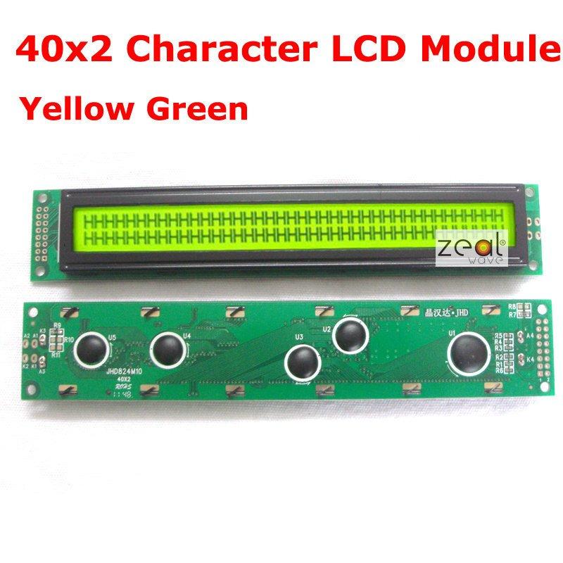 40x2 4002 40*2 Caráter LCD Módulo Verde Amarelo LED Backlight SPLC780D Frete Grátis Rastreamento
