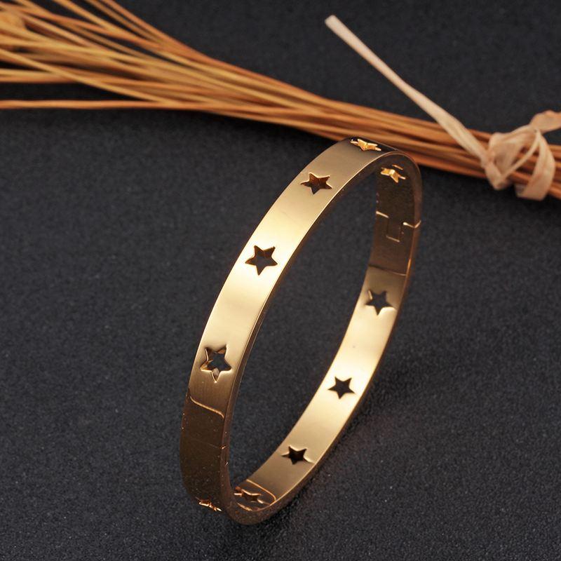 316L acier inoxydable femme bracelet & Bracelets évider étoile plaqué or bracelet féminin mode Rose or bracelet bijoux