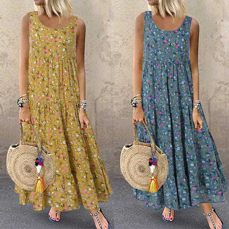 Feminino floral impresso vestido 2019 verão casual sem mangas festa longo maxi vestidos vintage boêmio femme robe sarafans