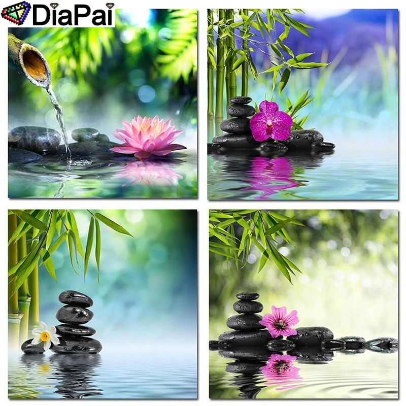 "DIAPAI taladro cuadrado/redondo completo 5D DIY pintura de diamante ""Flor de bambú de piedra"" 3D bordado punto de cruz 5D decoración regalo"