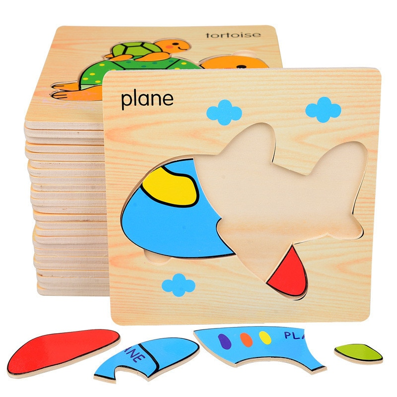 Baby 3D Puzzle Jigsaw Wooden Toys Cartoon Animals Puzzles Kids Educational Toy for Children Montessori Toys Puzzle Best Gifts