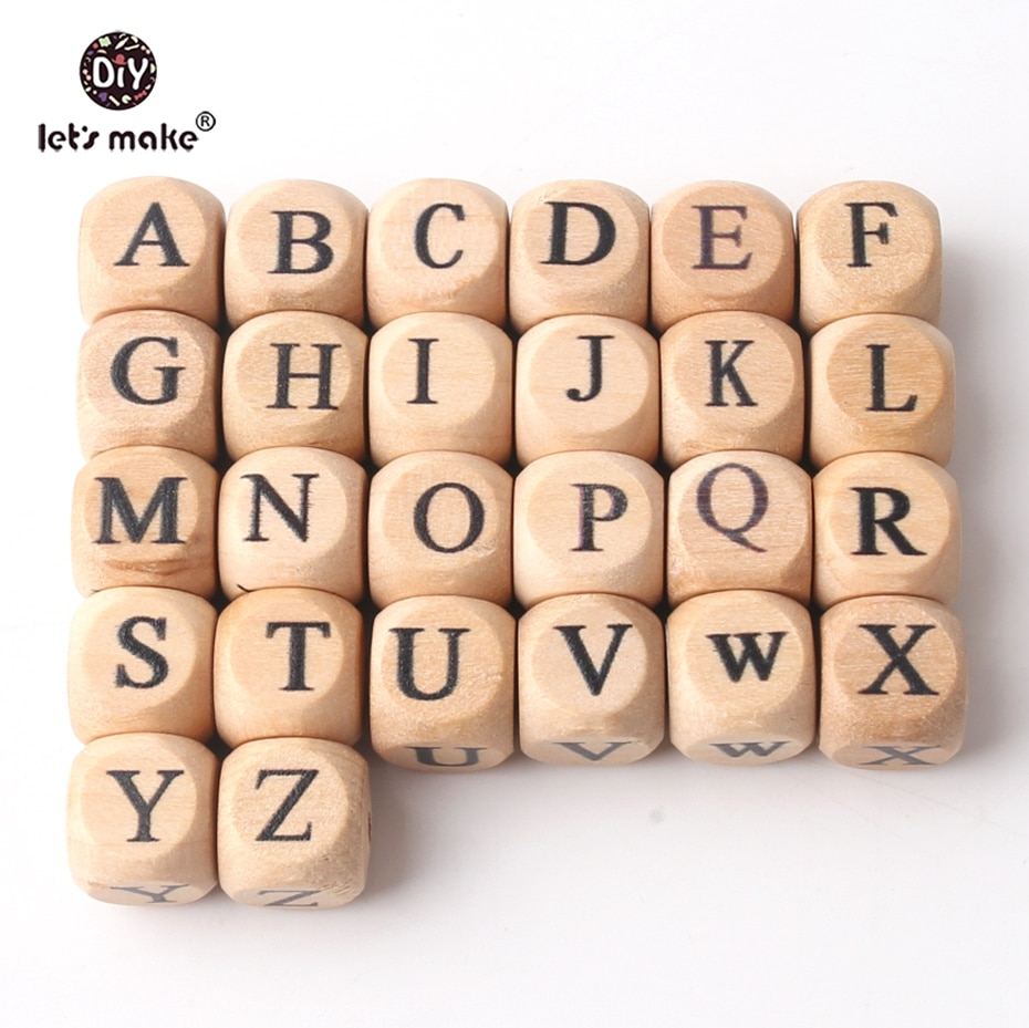 Let's Make Teething Accessories 100pc Square Shape Beech Wood Letter Beads Crib Toy 12mm Teething DIY Jewelry Beads Baby Teether