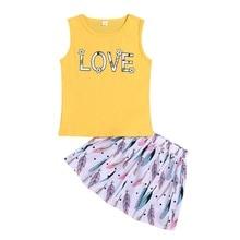 2Pcs/Set Baby Girls Casual Summer Sleeveless Vest Letter Print Blouse+Floral Short Skirts Suits Costume Set