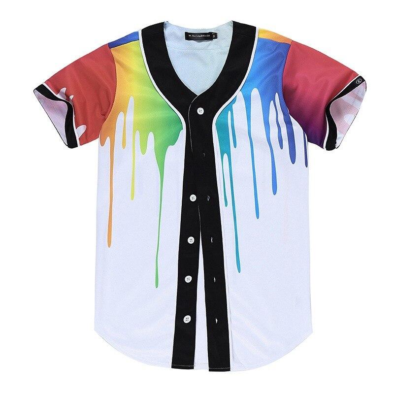 2019 New Brand Unisex Arc Bottom Baseball Jersey Short Sleeve Hipster 3D Print Tees Summer style Casual Button-Down Team Shirt