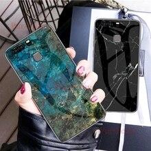 Para Huawei P 9 Plus VIE-L09 L29 de mármol de lujo grano vidrio templado duro protectora funda para Huawei P9 EVA-L09 L19 L29