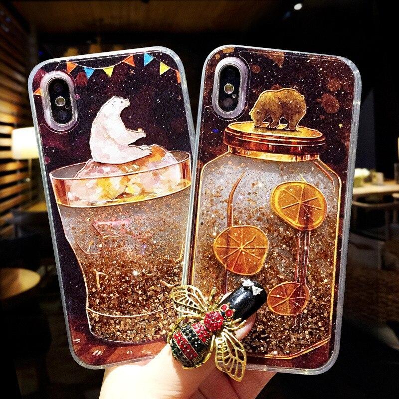 Purpurina líquida para iphone XS Max amor corazón helado oso arenas movedizas dinámicas funda trasera dura para iphone 6 6s 7 8 plus X XR funda