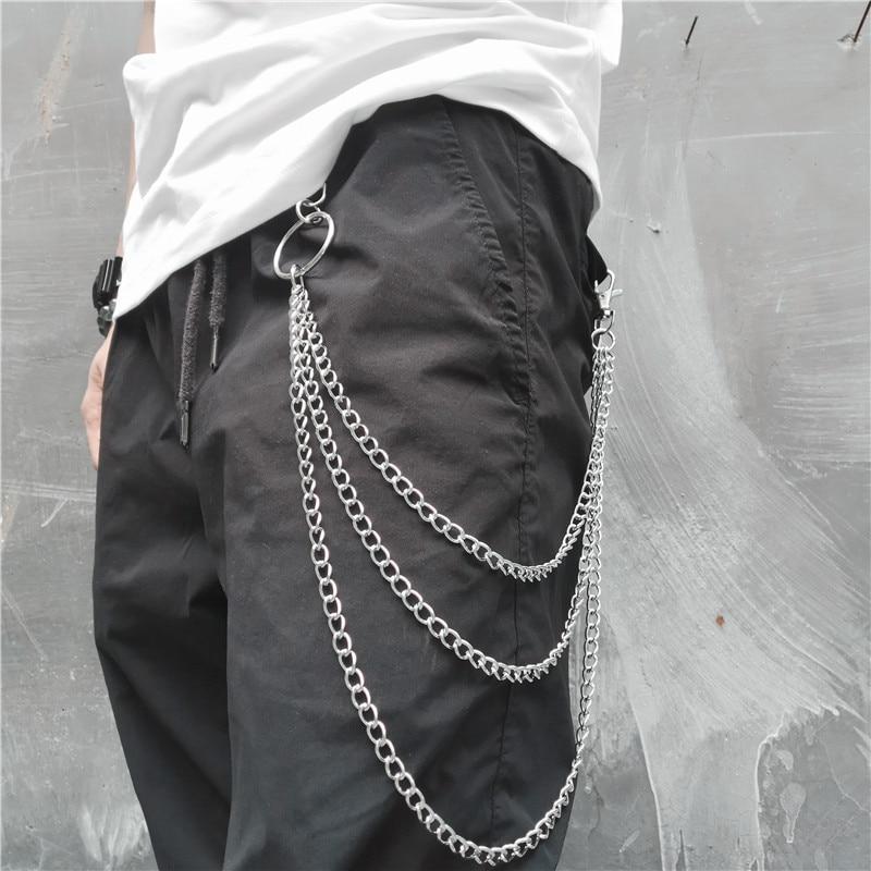 Long Silver Color Metal Wallet Belt Key Chain Rock Punk Trousers Keychain Hipster Jean Keychains HipHop Multilayer Portachiavi