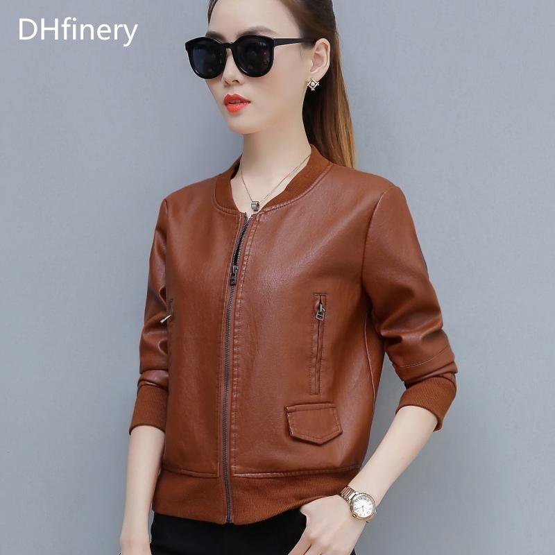 DHfinery leather jacket women Bust 95-120CM Slim motorcycle PU jacket green caramel faux leather jackets plus size M-4XL TB5720