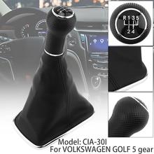 Portable 5 Speed Black Plastic PU Leather Car Manual Gear Shift Handball Knob MK4 R32 Bora MK4 Fit for Jetta /Golf /VW /