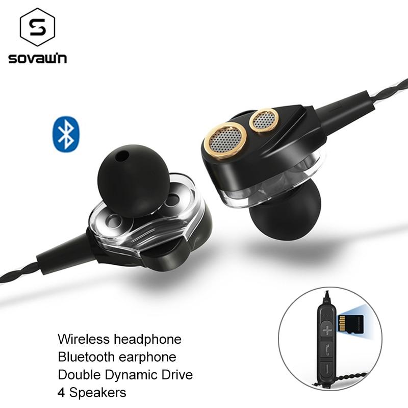 Fone de Ouvido sem fio Dual Dynamic Drive 4 6D Surround alto-falantes Estéreo Esportes fone de ouvido Bluetooth Super Bass fone de ouvido para o iphone