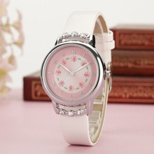Montre à Quartz mode pour enfants filles, montre-bracelet en cuir PU, montre strass fleur, montre-bracelet, dessin animé H9