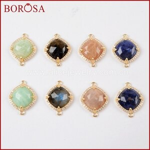 BOROSA Wholesale 15PCS CZ Micro Pave rhombus Gems Stone Connector Double Charms Pendant Jewelry for Necklace DIY WX973