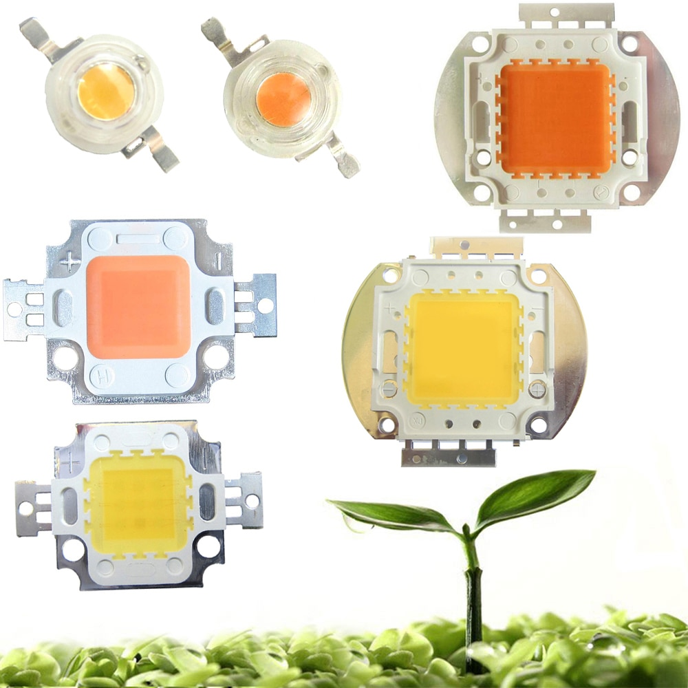 high power led chip 1w 3w 5w 10w 20w 30w 50w 100w smd cob light bead warm cold white red green blue rgb full spectrum grow light High Power 45mil 3W 10W 20W 30W 50W 100W Full Spectrum 400~840nm White Full Spectrum 380-780nm LED Grow Light Diodes Bulb Part