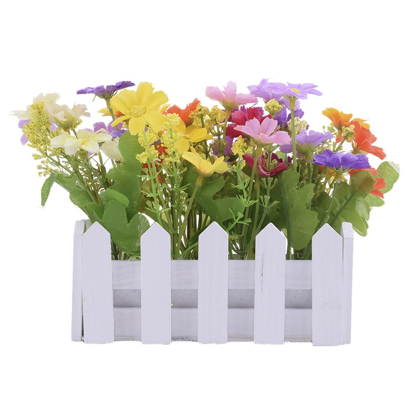 1 шт., красивые искусственные цветы, маленькие растения в горшке, искусственная Хризантема, набор в заборе для дома, гостиной, свадебные укра...