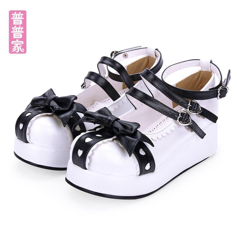 Princesa dulce lolita zapatos Original suave hermana cabeza redonda lazo muffin grueso Fondo princesa zapatos moda mujer pu8971
