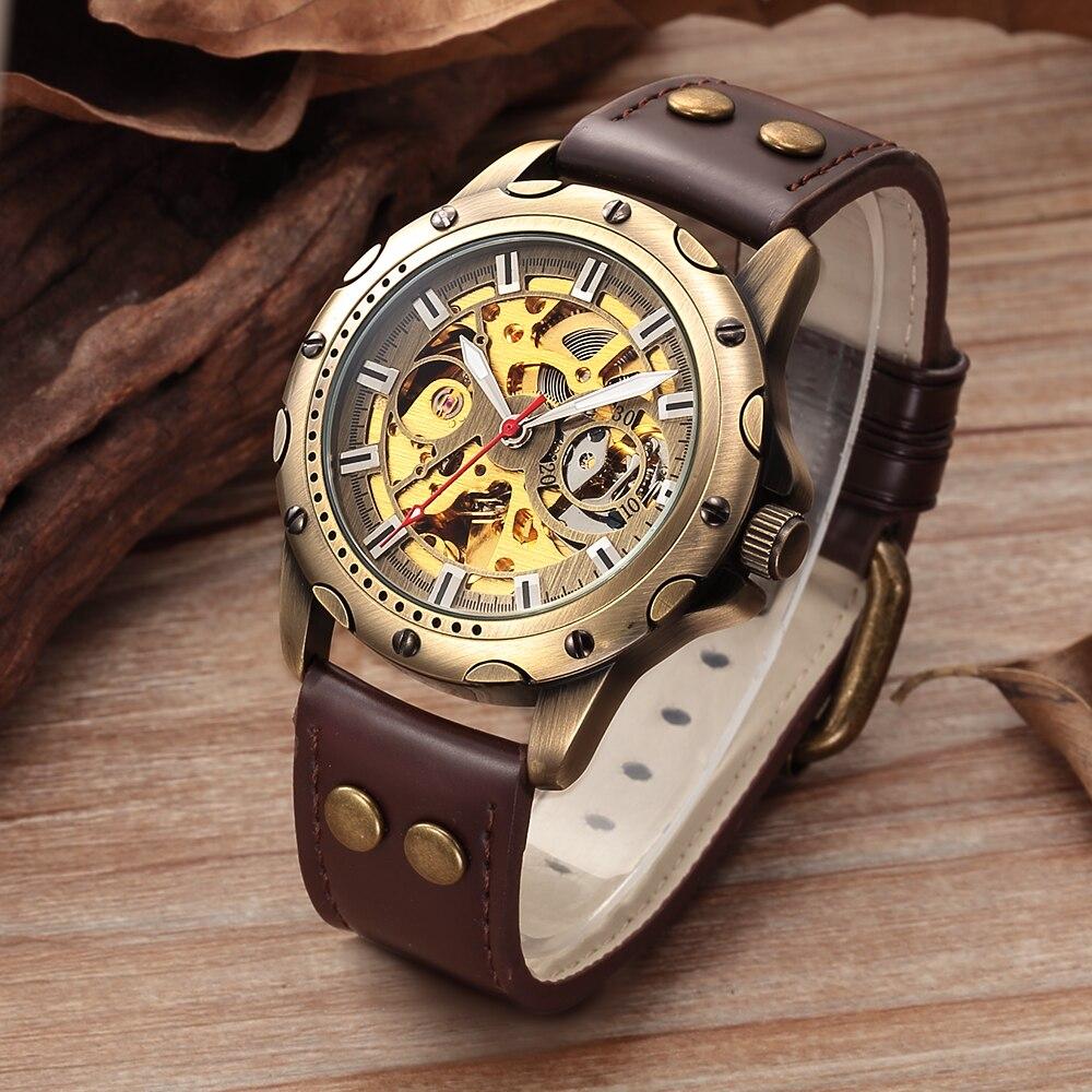 Мужские механические часы SHENHUA в стиле ретро, бронзовые наручные часы в стиле стимпанк с автоподзаводом и кожаным ремешком