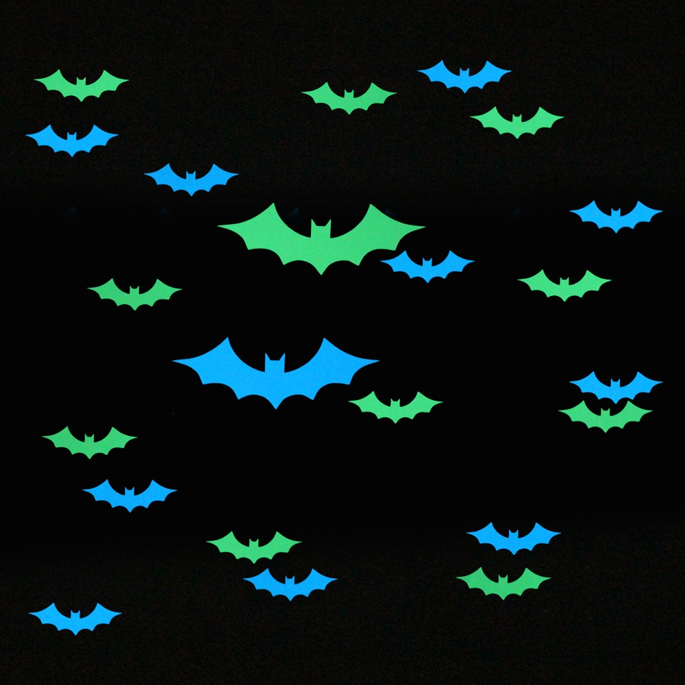 Adhesivo de decoración de murciélagos que brillan, calcamonía, decoración para niños, habitación de Halloween, Festival, calcomanía luminosa, pegatinas de pared de habitación para niños y niñas