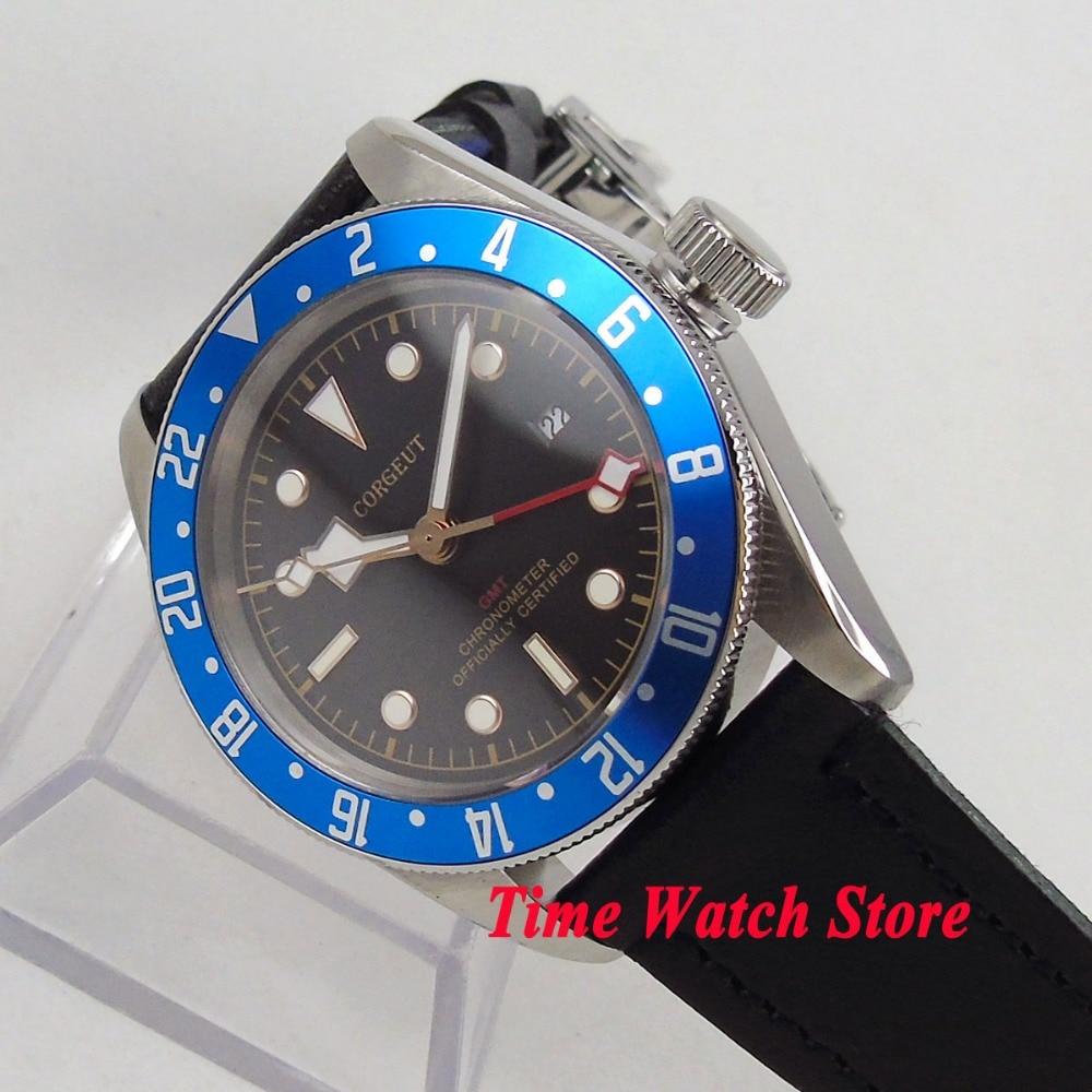 Reloj de pulsera mecánico para hombre de 41mm de Corgeut, resistente al agua, pulsera de cuero para piloto de buceo, esfera negra, zafiro luminoso con fecha azul c114