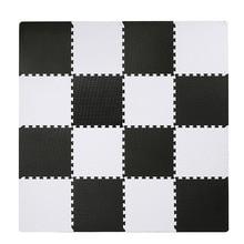 Meitoku bebê eva espuma jogar quebra-cabeça esteira, tapete de tapete de piso de bloqueio branco preto, 25 telhas almofada para crianças. Cada borda livre de 32x32 cm.