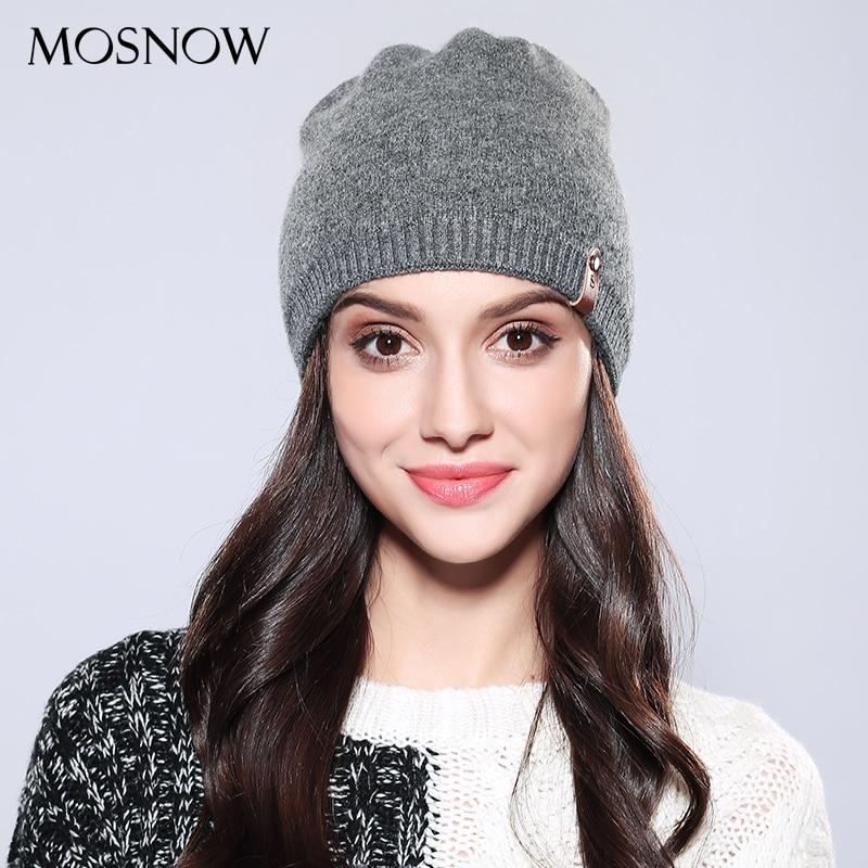 ¡Novedad de 2019! Gorro de lana informal para mujer, gorro de punto liso de alta calidad para otoño e invierno, gorros para mujer # MZ748