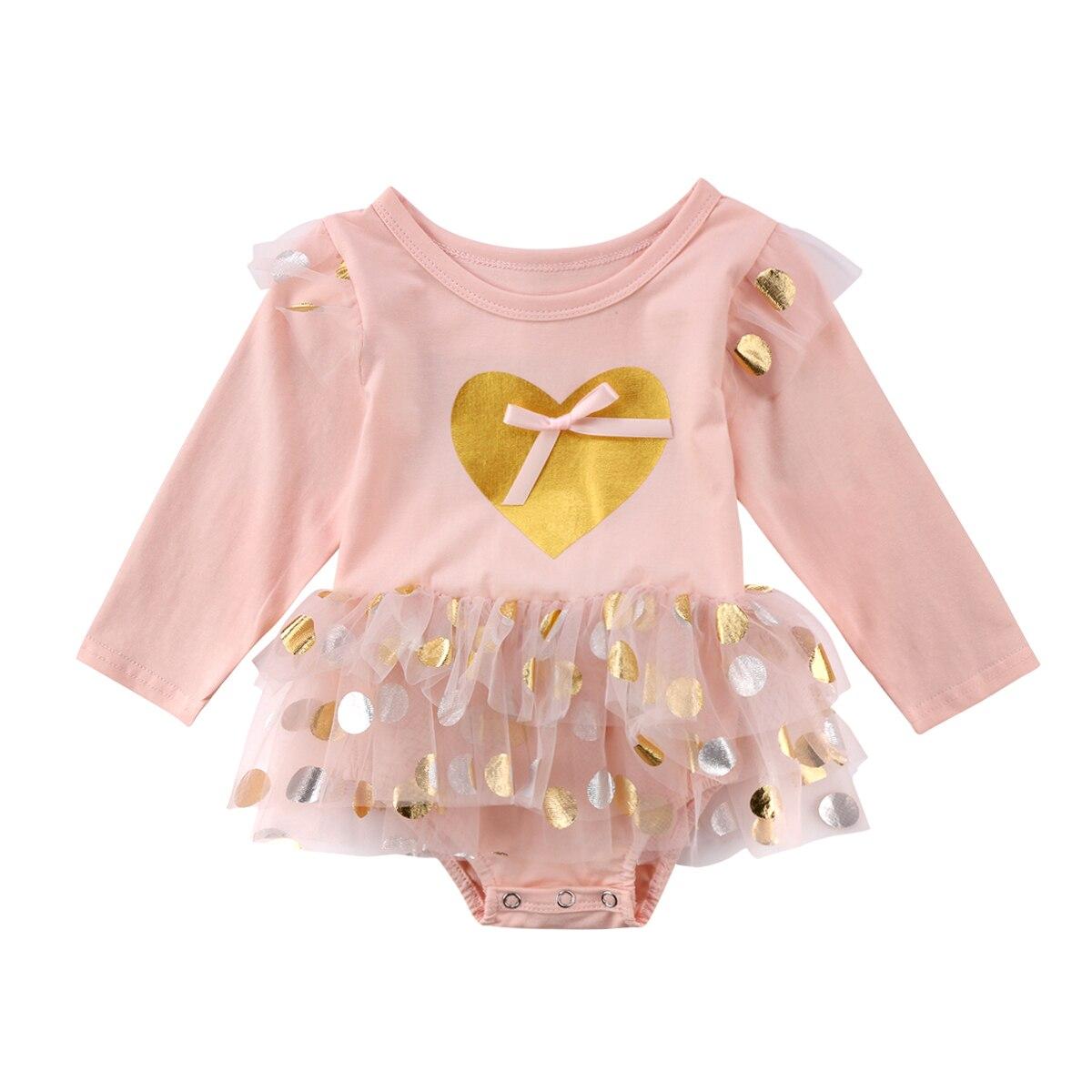 0-18M recién nacido niña conjuntos de manga larga 2018 lentejuelas corazón body Tutu falda Rosa ropa