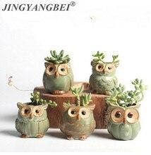 Pots de fleurs créatifs en forme de hibou en céramique pour plantes succulentes charnues