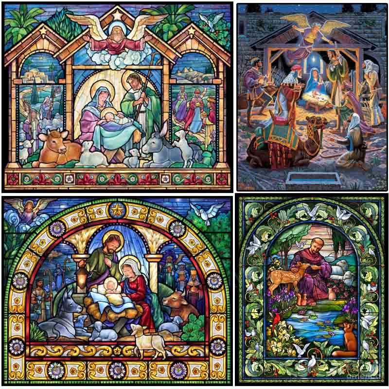 """Cuadro Completo cuadrado/redondo 5D DIY pintura de diamante """"holy family manchado Vidrio"""" patrón de bordado 3d punto de cruz mosaico decoración de la habitación"""
