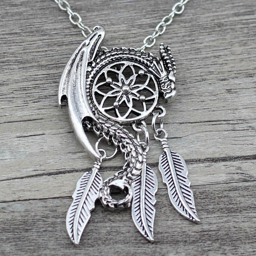 Женское Ожерелье с кулоном Anslow Dream Guardian, богемное колье в стиле бохо с перьями и кисточками, ювелирные изделия
