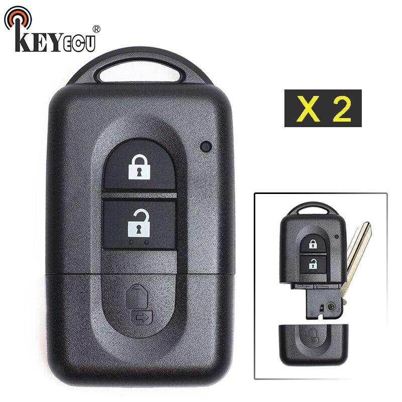 KEYECU 2x para Nissan Micra Xtrail de Qashqai Tiida nota Pathfinder de Flip botón 2 carcasa de llave a distancia de coche caso Fob