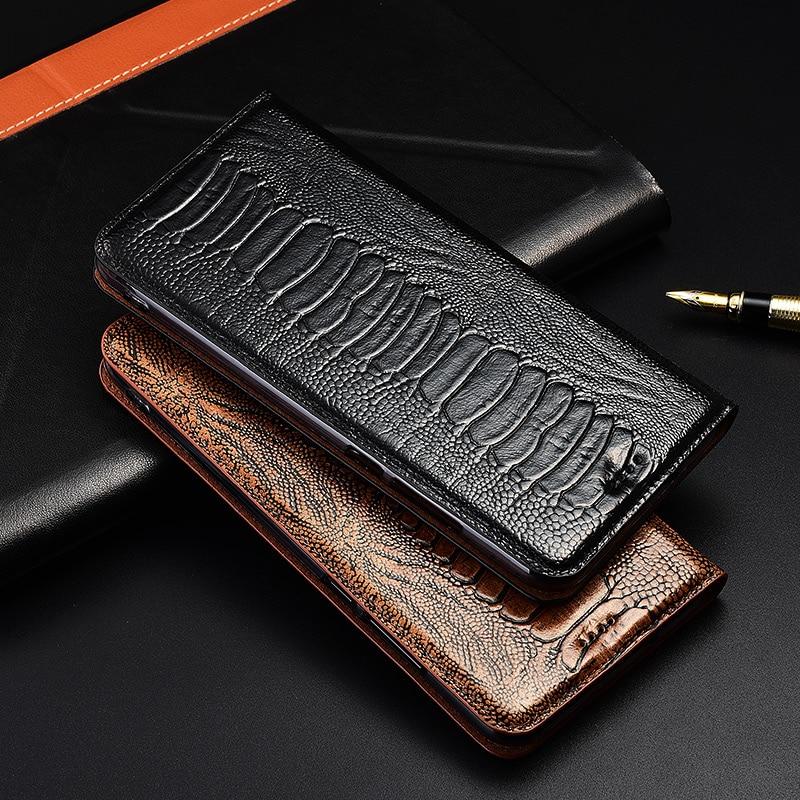 Lujosa Funda tipo libro con pie de avestruz para Lenovo S5 Pro/Lenovo K5 Pro Play K5S, Funda de cuero genuino para teléfono