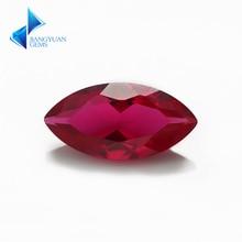 Prix usine taille 3x6 ~ 8x16mm Maquise coupe 5 # pierre rouge corindon synthétique pierres précieuses pour bijoux