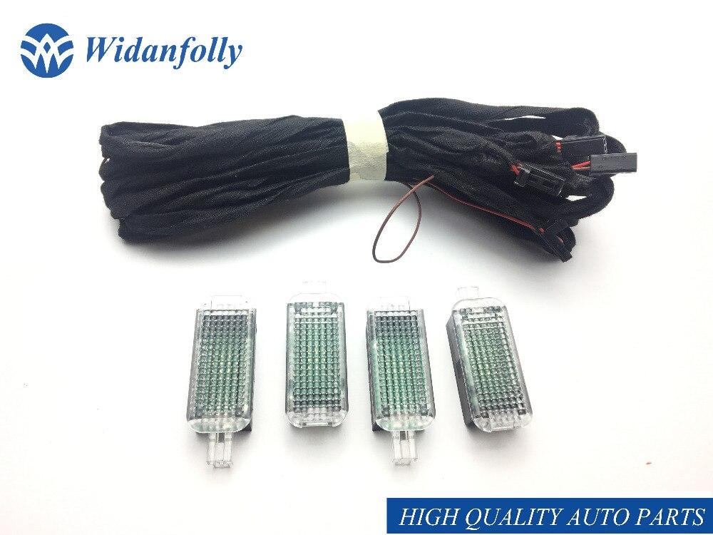 Widanfolly 1 SET coche luz led para pedales de la lámpara y Cable para Passat CC Q3 Q5 Q7 A7 A3 S3 A4 S4 A6 S6 A8 rápido 4E0947415 4E0 947, 415