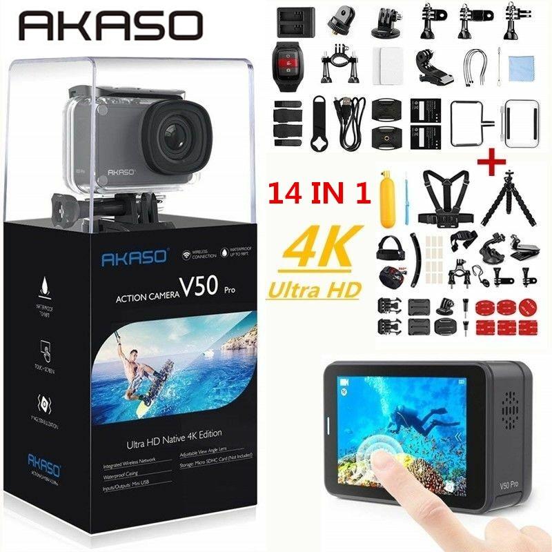 Экшн-камера AKASO V50 Pro, 4K/30fps, 20 МП, Wi-Fi, сенсорный экран EIS, регулируемый угол обзора 30 м, водонепроницаемая Спортивная камера
