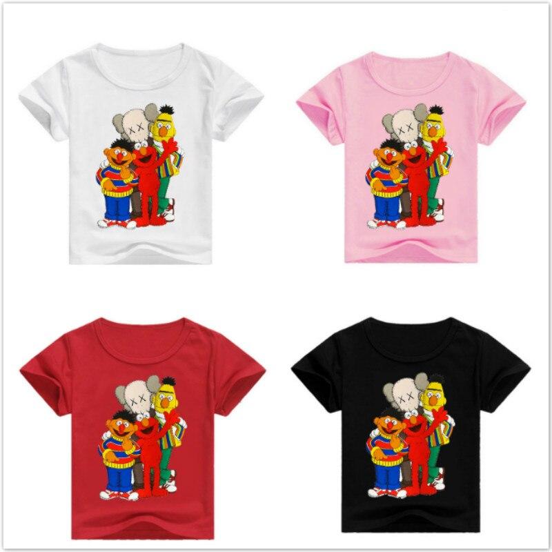 Ropa con estampado de Elmo de Barrio Sésamo para bebés y niños, divertidas camisetas de manga corta, camisetas de algodón para niños y bebés