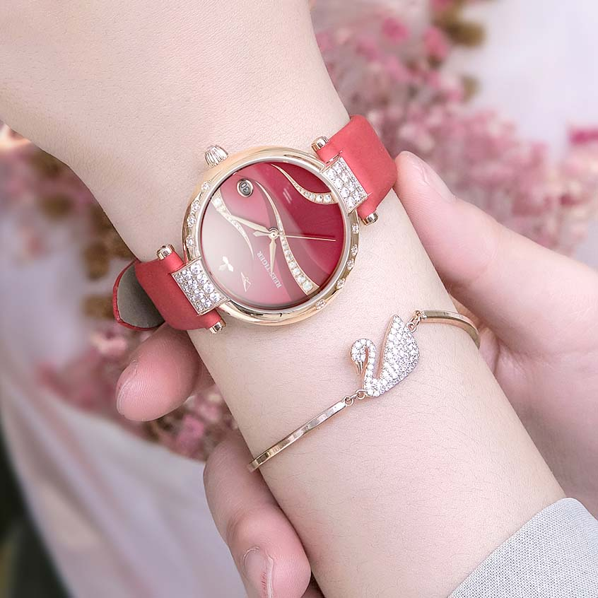 2021 Reef Tiger/RT Rose Gold Case Stainless Steel Diamonds Fashion Womens Automatic Waterproof Red Dial Watches RGA1589 enlarge