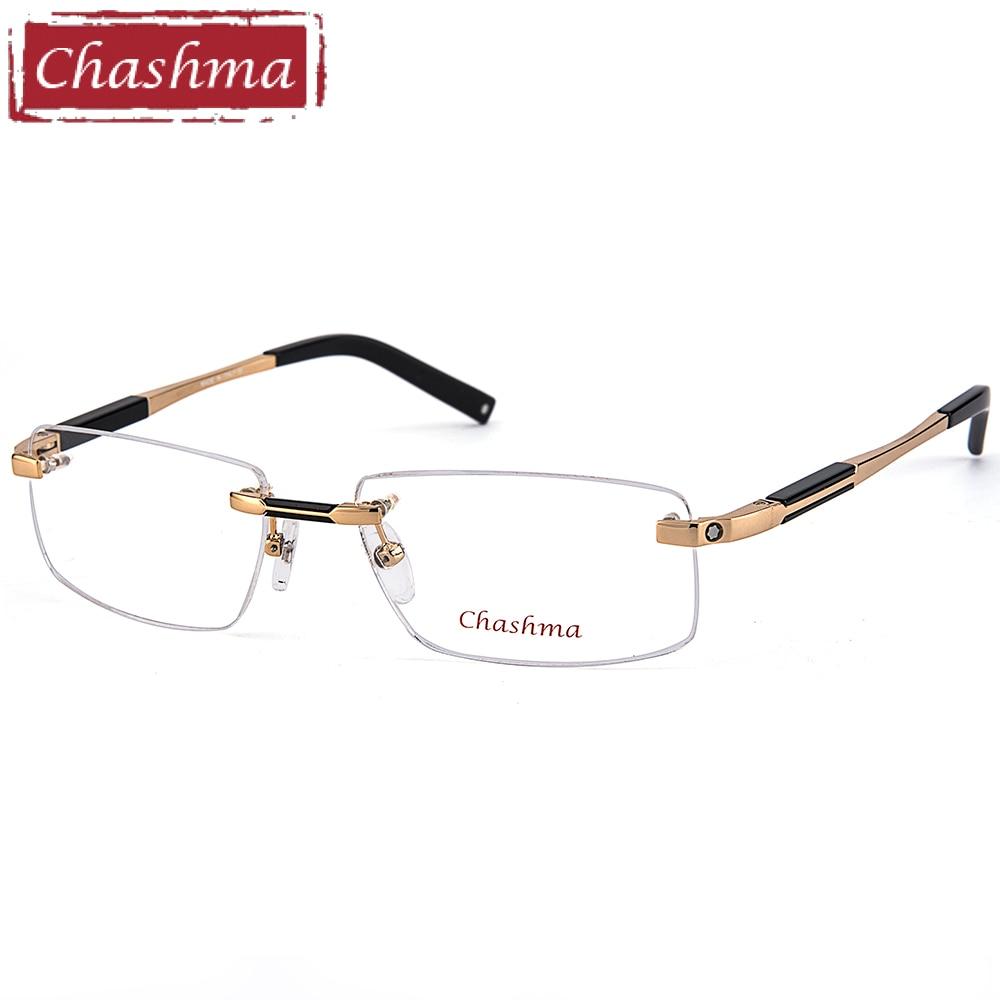 Chashma جودة عالية بدون شفة النظارات التيتانيوم النظارات الإطار العلامة التجارية النظارات البصرية الإطار الرجال