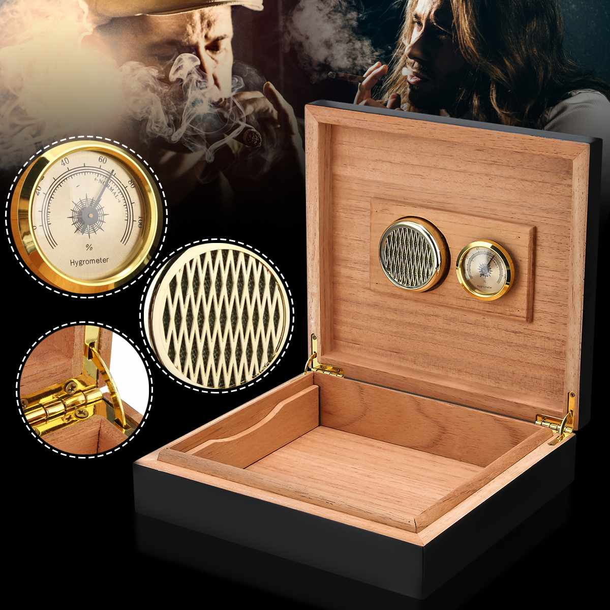 20-25 Counts Black Cedar Wood Lined Cigar Humidor Humidifier Travel Case Box With Hygrometer Cigar Holder Storage Box