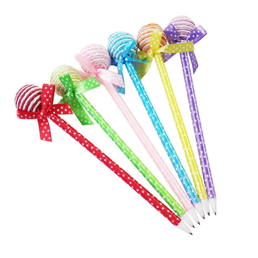 3 unids/lote novedad de plástico dulces kawaii color plumas forma bolígrafo redondo lollipop bolígrafo papelería de la escuela suministros