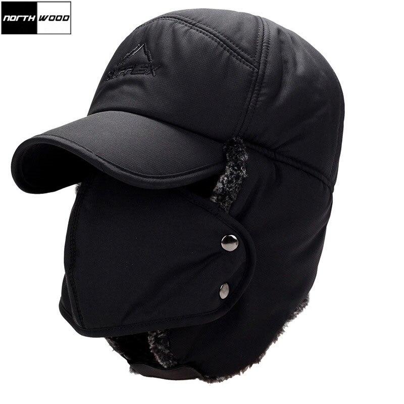 [NORTHWOOD] Мужские шапки-бомберы, мужские шапки-ушанки для защиты лица в русском стиле, зимняя бархатная супертеплая уличная шапка с ушками