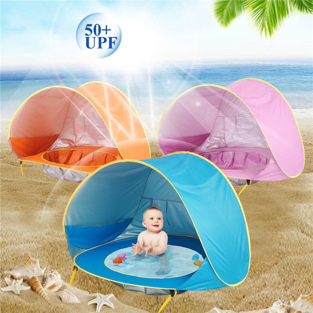 Bebé tienda Uv protección Sunshelter con una piscina bebé niños playa tienda Pop portátil sombra piscina protección UV Sun refugio
