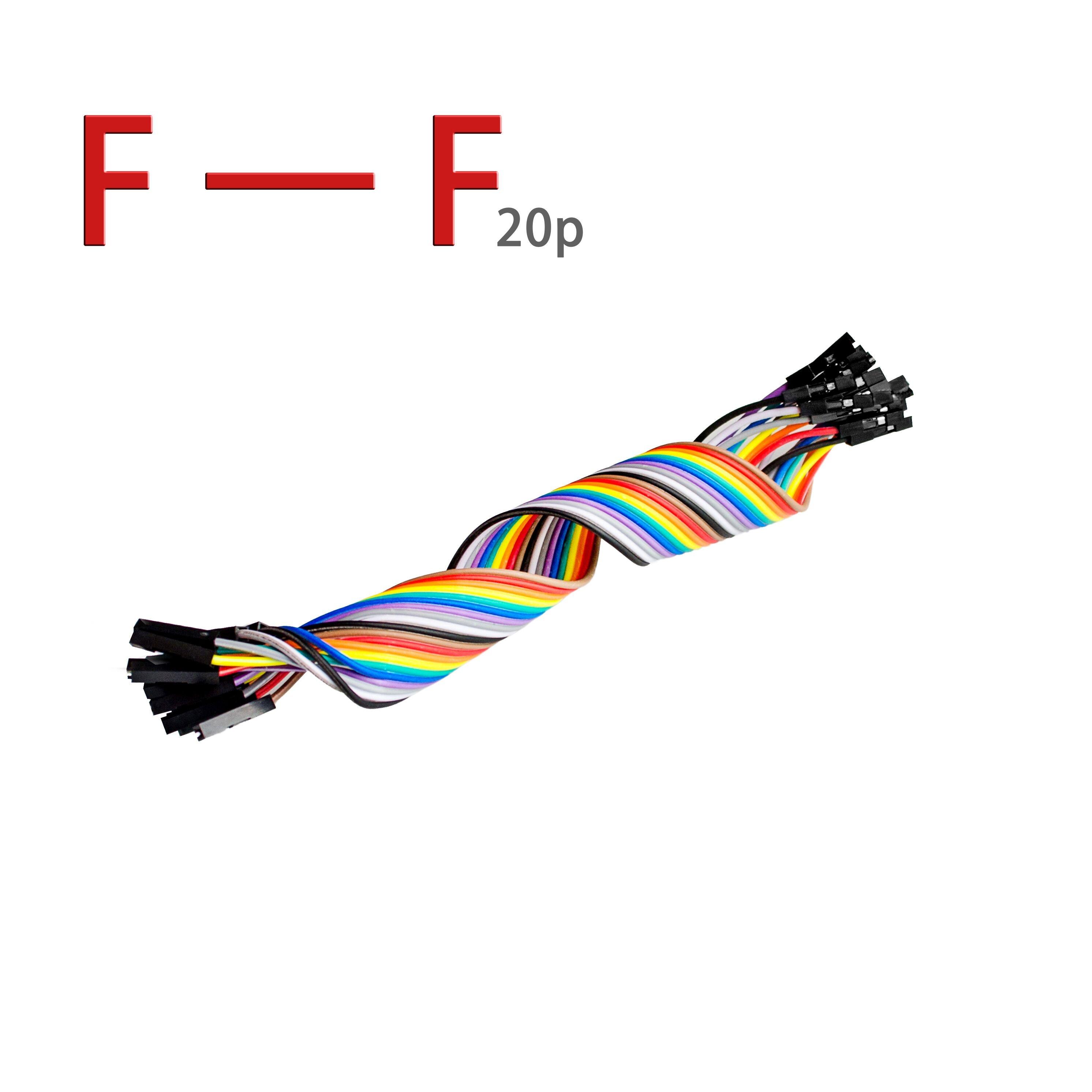 20 piezas 20cm 2,54mm 1 p-1 p Pin hembra a hembra Color Cable saltar de alambre de puente para